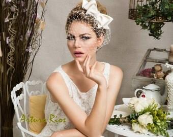 Cute ivory Bridal Bow  with veil, Wedding hat, veil, Bridal headpiece, Birdcage veil