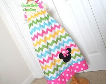 Minnie Mouse Pretty Pastel Rainbow Chevron Halter Pillowcase Dress