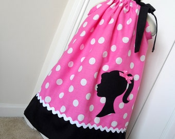 Vintage Silhouette Pink  Polka Dot Pillowcase Dress