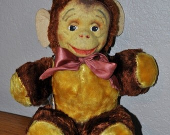 RARE Gund Antique Monkey Mask Stuffed Animal Toy with Original Tag - J Swedlin Plush - Hand-Painted Fabric Face - GREAT Condition