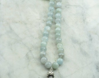 Morning Mist Mala - Aquamarine Mala Beads- Buddhist Prayer Beads, 108 Mala Beads - Cooling, Calming, Soothing, and Peace