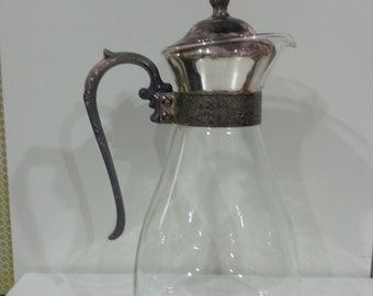 Clear glass with Silver Plate filligree handle Coffee tea pitcher, Vintage