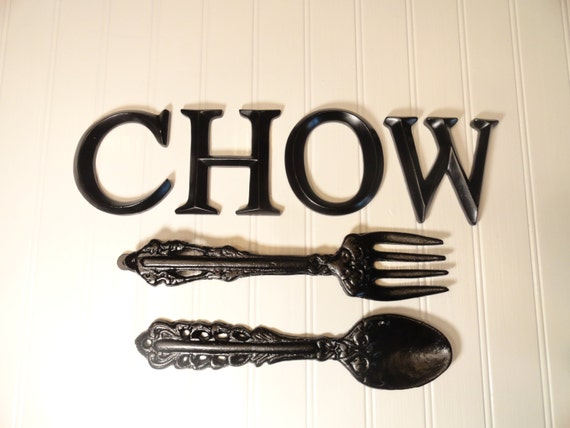 Large Fork And Spoon Set Black Kitchen Wall Decor Black