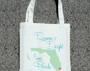 Destination State Wedding Map- Wedding Welcome Tote Bag