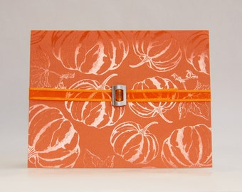 Orange Pumpkin & Leaf Card