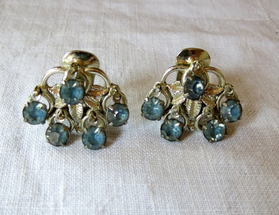 Vintage Rhinestone Clip Earrings- Baby Blue Teardrop Rhinestones- Retro FIFTIES Chic- Rockabilly-Mothers Day Gift