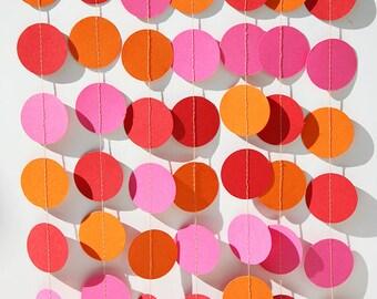Girl's birthday garland, Birthday party decorations, Mermaid party, Hot pink, orange & red, Summer party, Paper garland, Nursery decorations