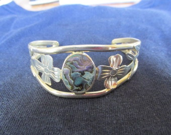 Vintage Bracelet, Silver Cuff Bracelet, Turquoise, Nacre, Collectible Jewelry