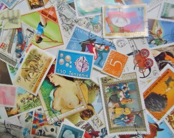 75 Vintage Worldwide Postage Stamps for Philately Crafts Decoupage Resin Art Pendant Art Some MINT Some Never Hinged