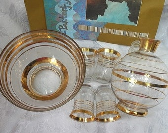 Barware Set made of Clear Glass with Gold Banding,includes Bowl, decanter, 4 glasses for New Years
