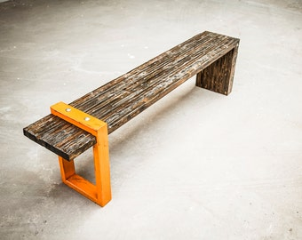 Industrial Bench, St. Aubin Bench, handcrafted vintage bench