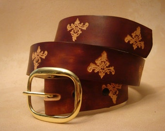 """Hand Tooled Leather Belt - Custom Leather Belt - Personalized Leather Belt - Brown 1-1/2"""" Geometric Pattern"""