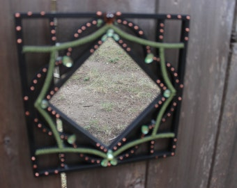 Black Square Mirror with Green and Copper Accents