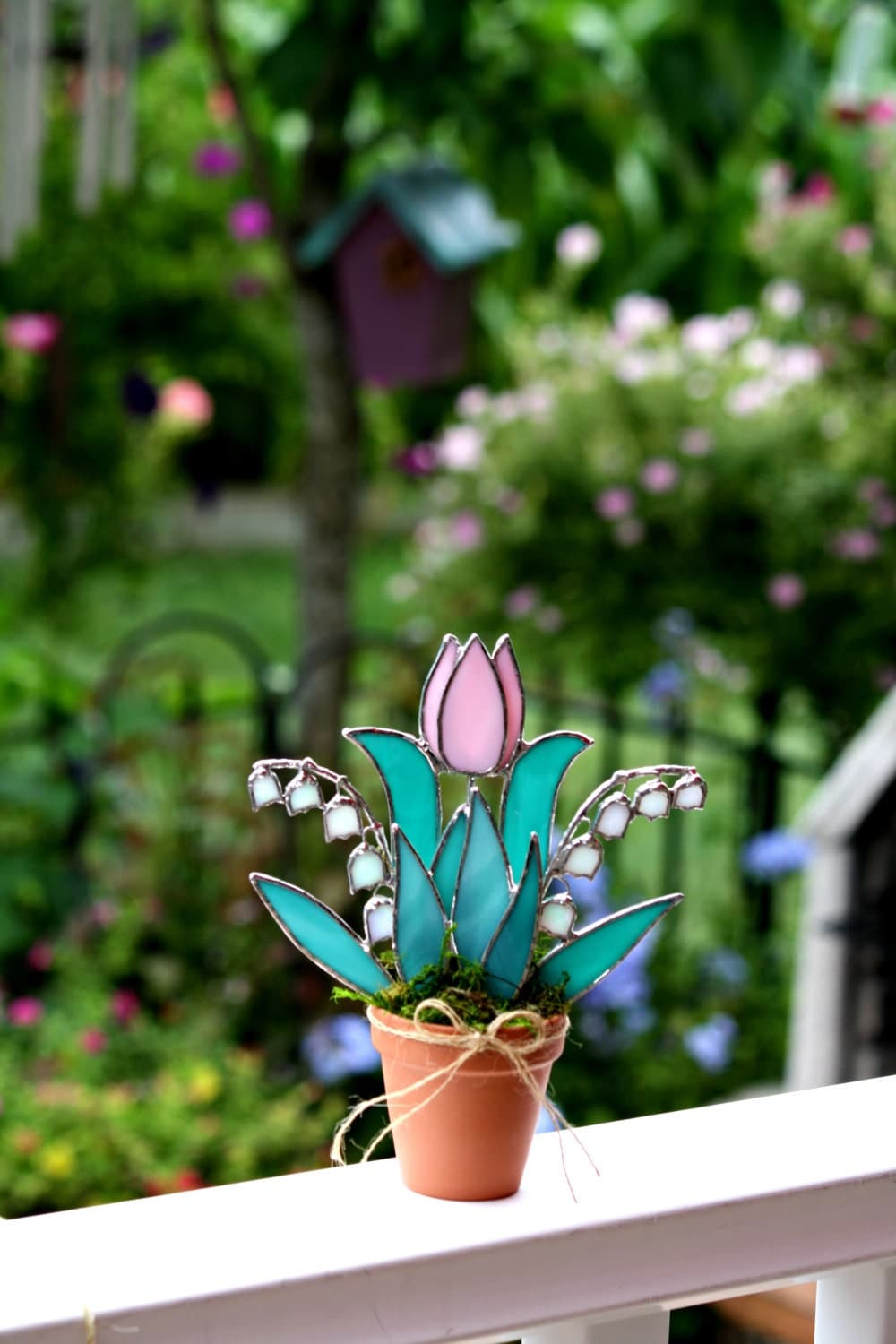 Stained Glass Suncatcher Pink Tulip Pink Lily Of The Valley
