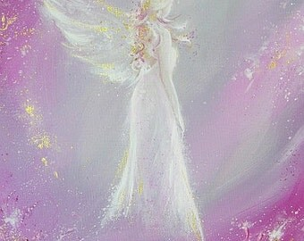 """ANGEL ART POSTER, Guardian angel painting """"Met in dream"""" Wall Decor, Art for Frame,perfect for frame,Angel Gift,Christening,Wedding,Birthday"""