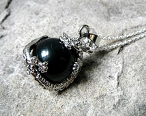 Black Agate Necklace, Chinese Dragon Necklace, Fantasy Jewelry, Orb Pendant Necklace, Black Necklace, Black Pendant Necklace
