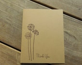 Dandelion Thank You Cards-Rustic Thank You Card-Fall Wedding Thank You Card-Simple Thank You Card-Kraft Thank You Cards-Set of 4