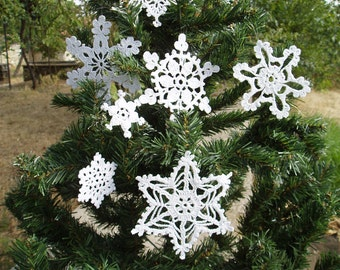 7 Lace Crochet White Christmas Snowflakes, Christmas Lace Crochet  Ornaments, Christmas Home Decor