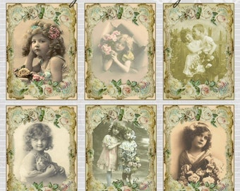Vintage Children Tags - Digital Scrapbook Clipart Graphics Card and Tags