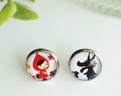 Little red ridding hood and wolf earrings, Kids earrings, Girls earrings, Tale earrings, Funny earrings