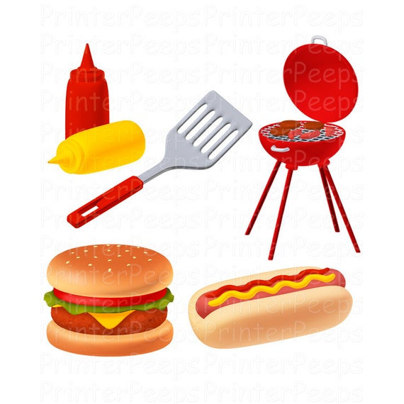 Items similar to Grill Clipart Scrapbook Pack Digital ...