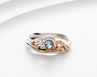 Moonstone ring, rainbow moonstone ring, faceted moonstone ring, sterling silver ring, organic ring, gemstone ring, gold ring, handmade ring