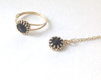 Gold ring, black ring ,stackable ring, black onyx ring,black swarovski, gold filled ring,delicate gold necklace B1