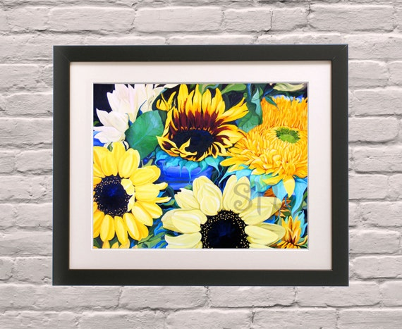 Items similar to yellow art sunflower painting art print for Neon yellow wall paint