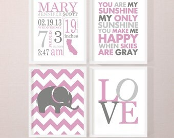 new baby girl decor, birth stats wall art, personalized baby girl gift, birth announcement girl, baby girl nursery, baby stats wall art