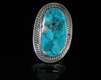 Turquoise with Pyrite Mens Ring Sterling Silver Handmade Size 12.5, R0204
