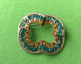 Vintage Gold-tone Brooch with Green and Yellow Rhinestones (Item 444M)