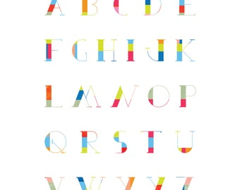 Retro-style ABC colorful 12 x 16 Alphabet typography print  by Clare Wilkinson