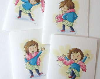 Dance note cards with envelopes/4 blank cards /cute, happy dancing girl feather boa / art by Kathe Keough