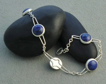 Handmade Sterling Silver Bracelet with 10mm Lapis Cabochons
