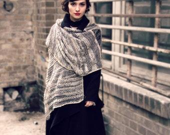 winter shawl - extra long scarf - valentine's gift - handmade shawl - avantgarde - unique shawl - oatmeal - oversized shawl