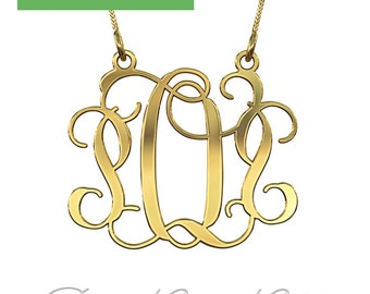 "Monogram in 14k Yellow Gold (0.4mm thick) - ""POP"" design"
