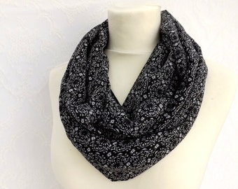 Black chiffon scarf. Black chiffon with white flowers pattern. Looped chiffon scarf.