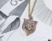 Victorian Skull & Crossbones Motif Pendant Necklace, Antique 14k Enamel Knight of Pythias Charm, Fraternal Secret Society Symbols Fob