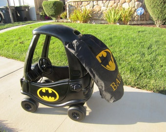 Batman or Batgirl Cozy Coupe Kit Vinyl Sticker and Tutorial Package w/ option for DIY Cape Design- NO CAR Included!