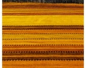 Fields of Gold - Orange, Yellow and Brown Striped, Landscape with Field and Forest, Autumn, Black and White Forest - ArtForOwl