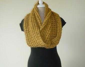 Hand Knit Mustard Yellow Tweed Infinity Loop Scarf