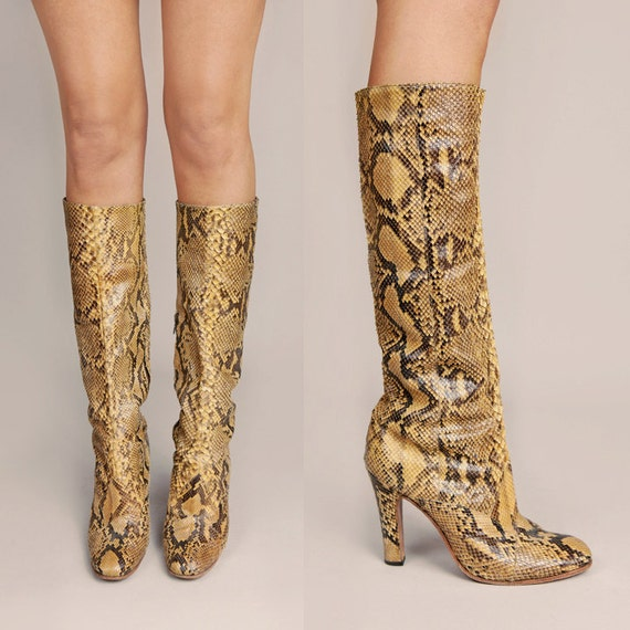 RESERVED /// Vintage 70's Authentic Phyton Skin Knee High Boots 8.5