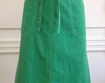 Vintage 1970s Kelly Green A-Line Wrap Skirt by Jordan Marsh/ size Medium