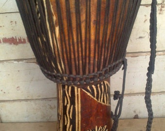 Djembe Drum Hand Carved African Instrument Genuine African Art  NOW ON SALE