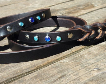 Leather Leash 4ft, 5ft, or 6ft Leash, Real Leather Leash, Traditional leather dog leash, braided leather leash, Dog lead and matching collar