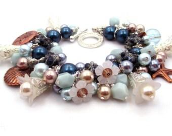 Blue Charm Bracelet, Nautical Charm Bracelet, Beaded Bracelet, Lampwork Bracelet,  Blue Bracelet, Blue Jewelry, Charm Bracelet