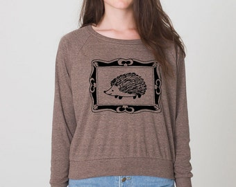 Handsome Hedgehog Portrait womens screen print American Apparel long sleeve pullover top