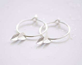 Double leaf hoops earrings - sterling silver tiny leaf dangle earrings - simple everyday jewelry - edor