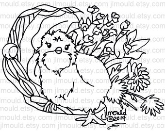 Digital Digi Rubber Stamp - Easter Chicken Chick - Ready for Download Perfect for Cards and Scrapbooking