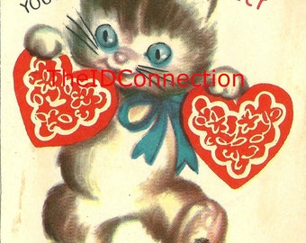 Vintage Valentine Digital Download, Kitten, Feline, Blue Eyed Pussy Kitty Cat, Meow, I Think You're Purr-fect! Valentines Day retro 1950's